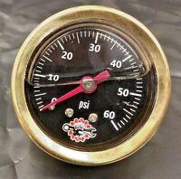Brass Harley Liquid Filled Oil Pressure Gauge 60psi Hd Chopper Bobber Black 60