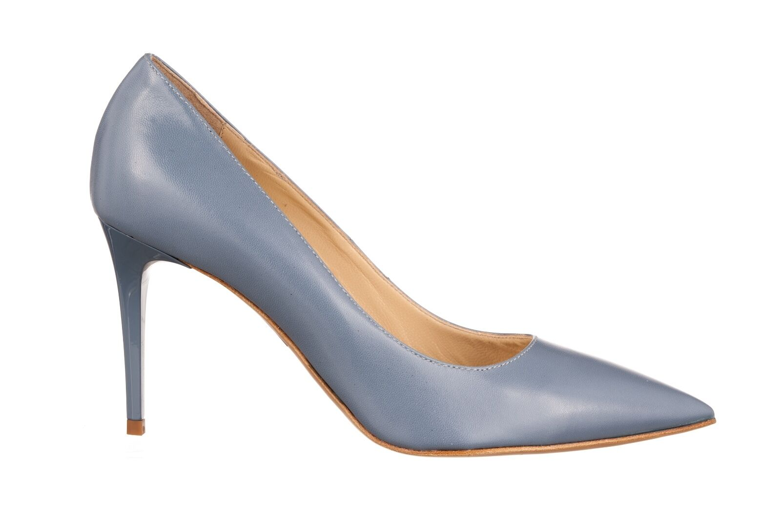 MORI MADE IN ITALY POINTY HIGH HEELS PUMPS GRIGIO DECOLTE SCHUHE LEATHER GREY GRIGIO PUMPS 39 821493