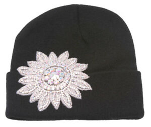Womens-Winter-Cuffed-Beanie-w-Jeweled-Floral-Crest