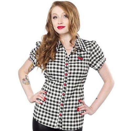 Sourpuss Gingham Cherry Rocker Print Nautical Top Punk Goth Tattoo Shirt S-Xxl