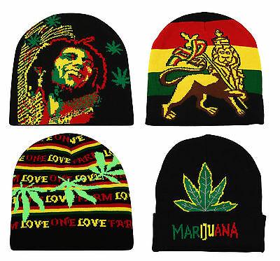 a5ebb997c Rasta Pull On Beanie Bob Marley Lion Of Judah One Love Marijuana Leaf Cap  Hat | eBay