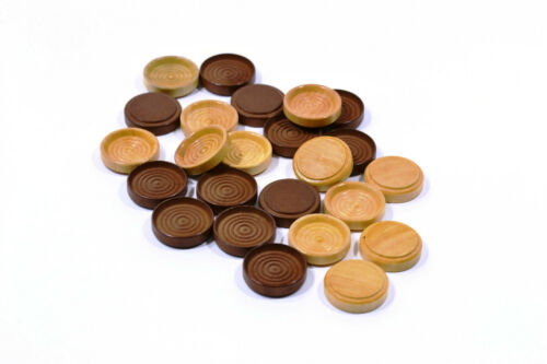 """30 Pack 1.25/"""" Wood Stacking Checkers Finished in Clear and Walnut"""