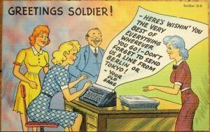 Typewriter & Secretary WWII 1940s Linen Postcard - Greetings Soldier!