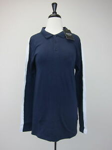 5b16be08 Boohoo Men's Long Sleeve Muscle Fit Panel Polo Shirt Medium Navy NWT ...