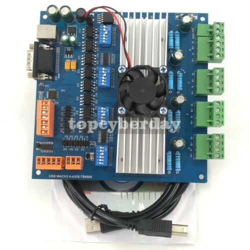 USB Cable CD MACH3 4Axis TB6560 Stepper Motor Driver Board with MPG USB Port