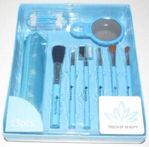 Coffret-Cadeau-Accessoires-Maquillage-Pinceaux-Trousse-Miroir-Bleu-NEUF