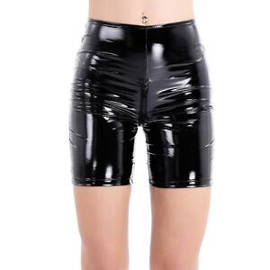 Frauen-Leder-Optik-Shorts-Damenhose-Kurz-Hosen-Pants-mit-Reissverschluss-Schwarz