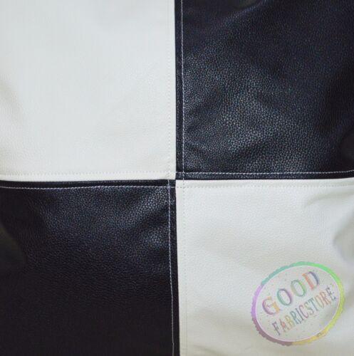 pb308-301t Black Cream Faux Leather Skin 3D Box Seat Cushion Cover Custom Size