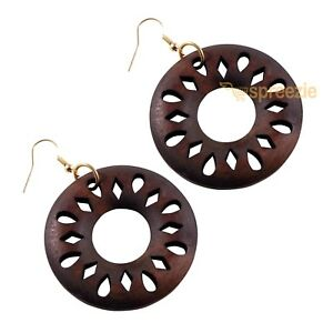Stand Out Designs Jewelry : Women s earrings round wood cut out design dangle drop jewelry