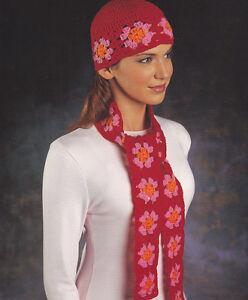 Image is loading Crochet-Pattern-LADIES-GRANNY-SQUARE-HAT-amp-SCARF- 4b34b807b44