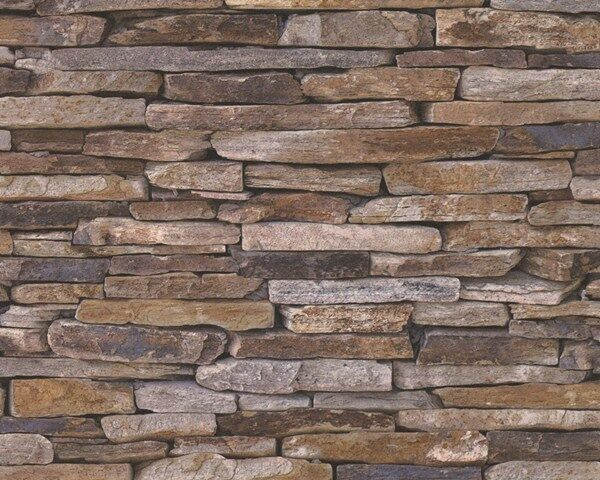 Vlies Tapete Wood´n Stone 9142-17 beige braun Natur Stein Bruchstein Mauer