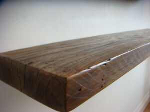 Ripiani In Legno Massello : Rustic floating wooden shelf solid reclaimed chunky wood
