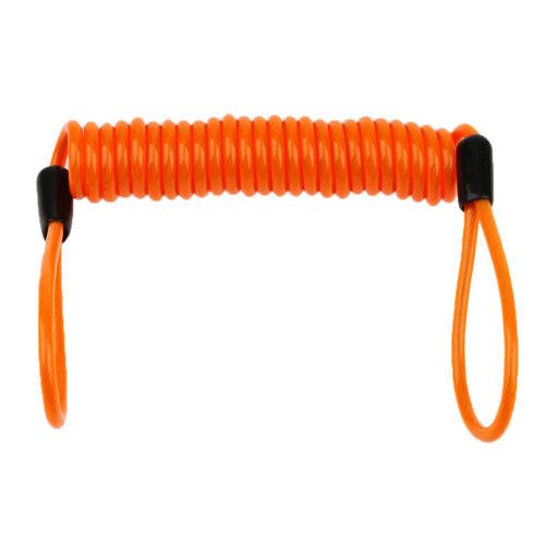 Orange 1.5m Safety Lanyard Spring Coil Tether Disc Brake Lock Reminder Cable