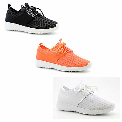 New Womens Ladies Running Sneakers Lace Up Mesh Trainers Plimsoll Gym Shoes Size
