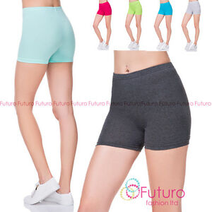 Womens-Super-Soft-Cotton-Shorts-Elastic-Stretch-Yoga-Sport-Knickers-UK-8-22-PSL5