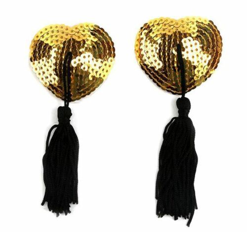 Womens Stick On Quality Nipple Tassel Sequin Pasties Gold Black Flower Rose
