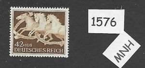 MNH-stamp-1942-Brown-Ribbon-Horse-race-Third-Reich-era-Munich-Germany