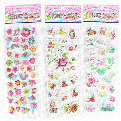 Lots 5pcs/Lot Colorful Flower PVC Puffy Stickers Sheet Kids Girl Gift Toys SK033