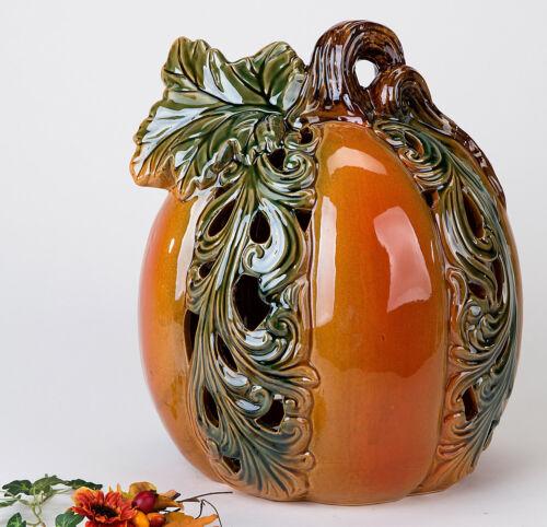 Formano Windlicht Kürbis m Durchbruchmuster Porzellan glasiert Herbst Helloween