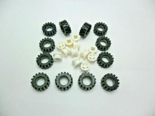 12 pièce jante 8x6 mm EN BLANC Lego pneu 15x6 mm 4624//3641