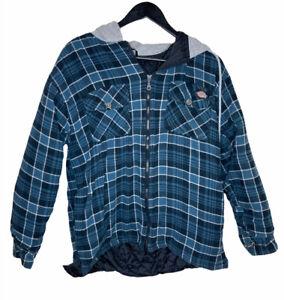 Dickies-Mens-Shirt-Plaid-Cotton-Flannel-Medium-Quilted-Lined-Hoodie-Zip-Jacket