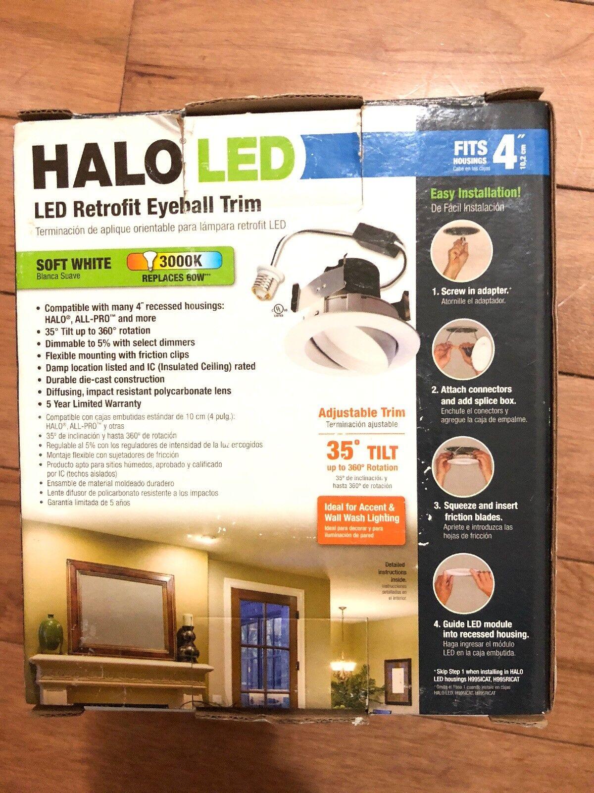 Halo Ra406930whr Led Adjustable Gimbal Recessed Retrofit Kit Ebay