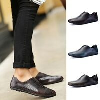 New Men Loafers Crocodile Embossed Moccasins Pointy Slip On Casual Formal Shoes