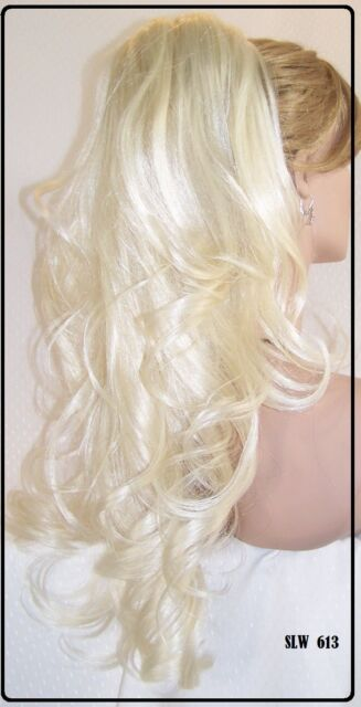 USA Bleach Blonde # 613 Long Drawstring Ponytail piece hair extension fall slw