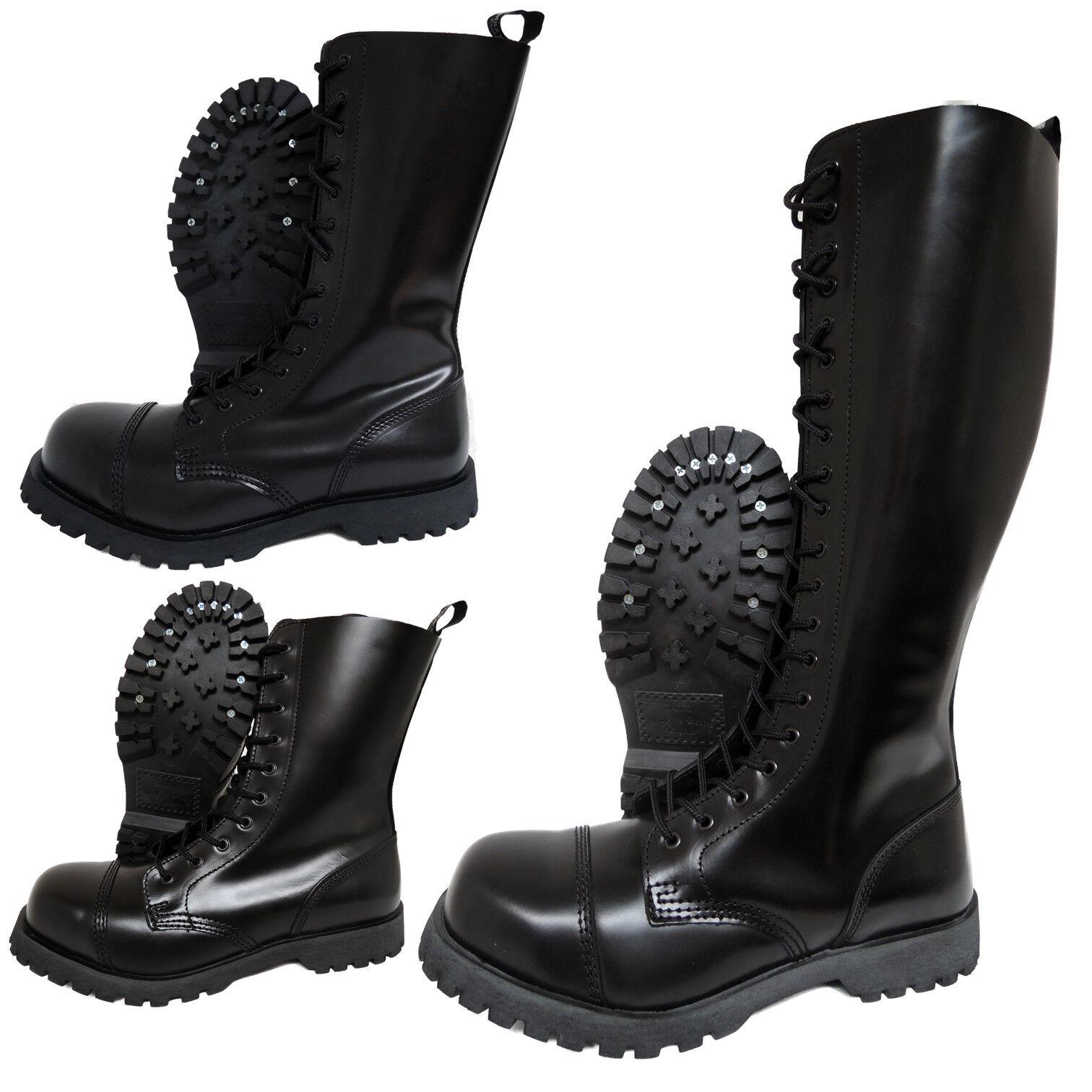 Boots & Braces Black Steel Toe Rangers 10 14 20 Hole Punk Skinhead Biker