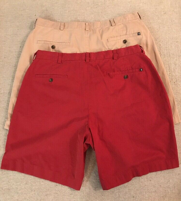 Lot Of 2 Brooks Bredhers Men's Cotton Pleated Shorts Size 38 Great Condition  B3