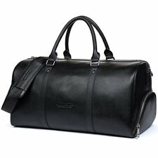 aa8fc6082123 Men Women Outdoor Sports Gym Real Leather Duffel Bag Weekend Overnight  Luggage