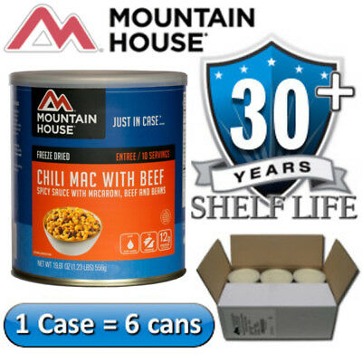 Cans Mountain House Freeze Dried Emergency Food Supply 6 Chili Mac with Beef