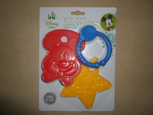 Disney Baby 3 Pc Mickey Mouse BPA Free Ring Charms /& Teethers Set~NEW IN PACKAGE