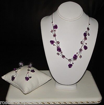 TINY ROSES~PURPLE~GENUINE AUSTRIAN CRYSTAL SILVER TONE NECKLACE WITH EARRINGS