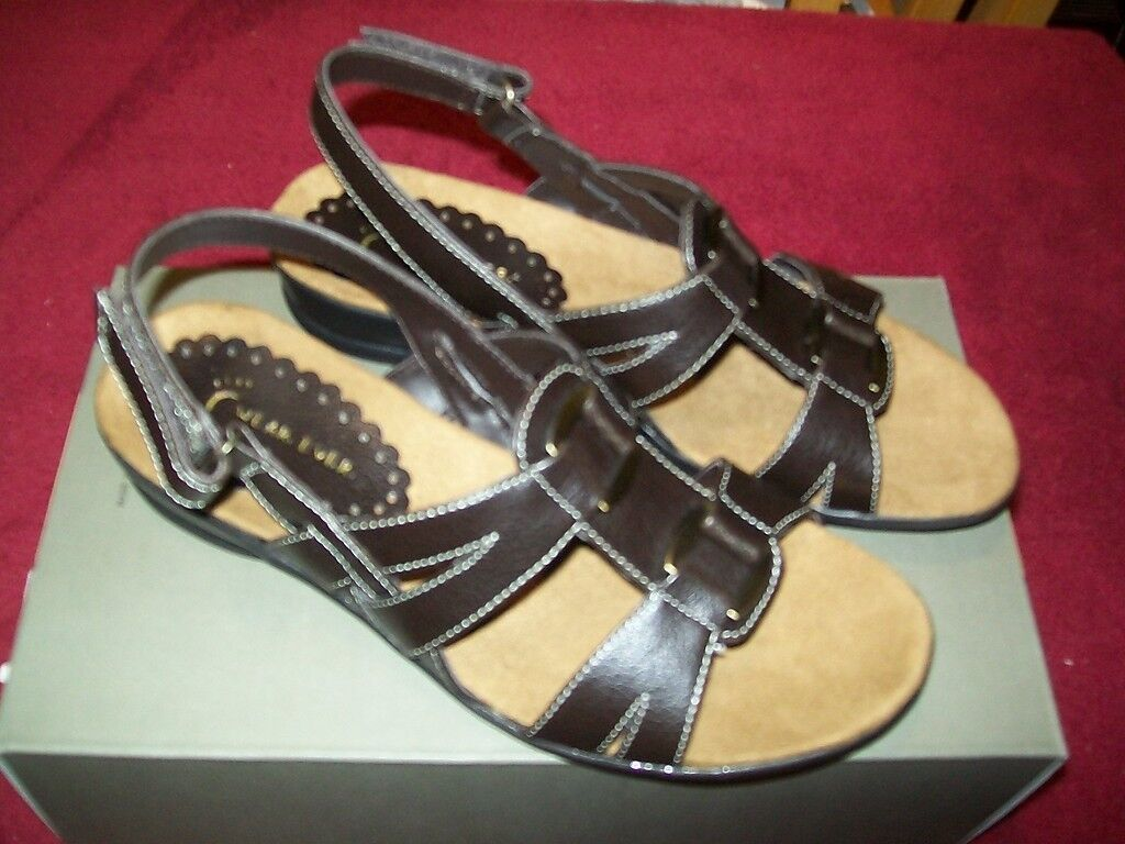 All Black Black Leather Open Toe Slide Sandal Size 39.5 9.5 NEW