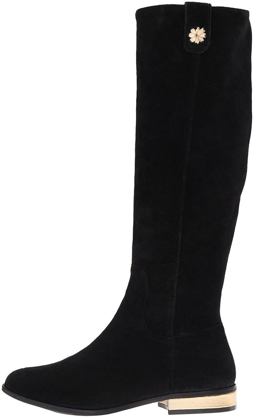 298 NEW Jack Rogers PARKER Black Suede Knee High Flat Boots Low Heel  5