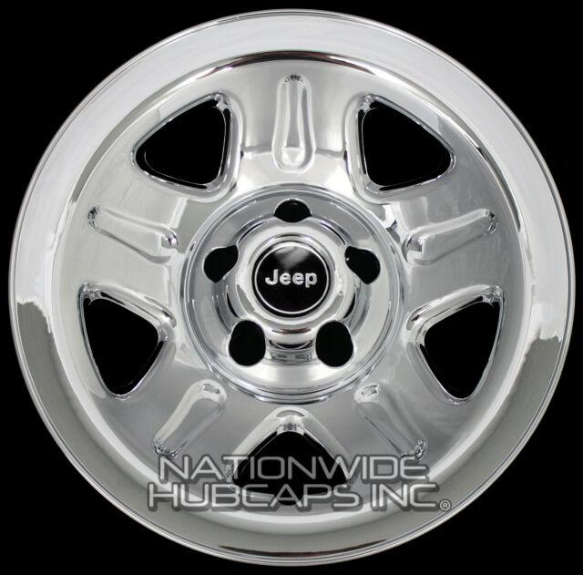 "4 CHROME 93-01 Jeep Wrangler Cherokee 15"" Wheel Skins Hub Caps Wheels Rim Covers"