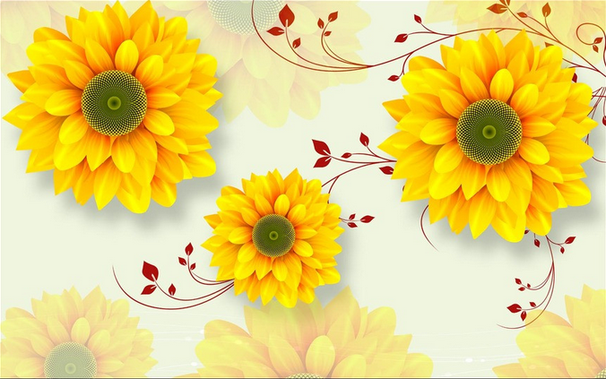 3D Gelbes Blumenmuster56 Blumenmuster56 Blumenmuster56 Tapete Tapeten Mauer Foto Familie Tapete Wandgemälde DE 21d412
