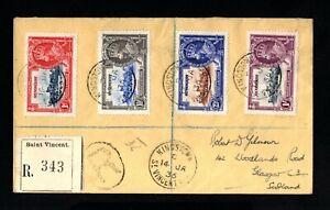 2213-st.vincent-registered Cover St.vicent To Glasgow (scotland) 1936.british Surface LustréE