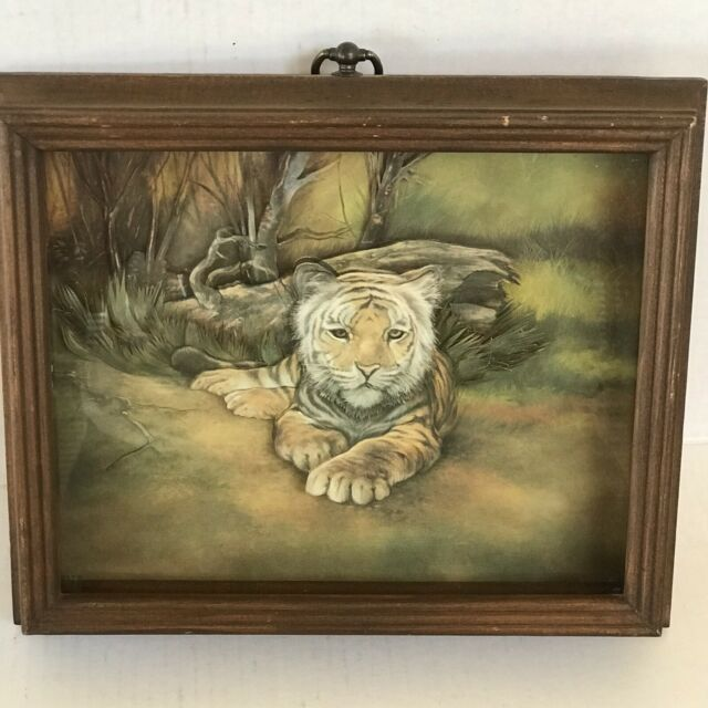 Vintage Tiger Paper Art 3d Diorama Shadow Box Hand Crafted Framed