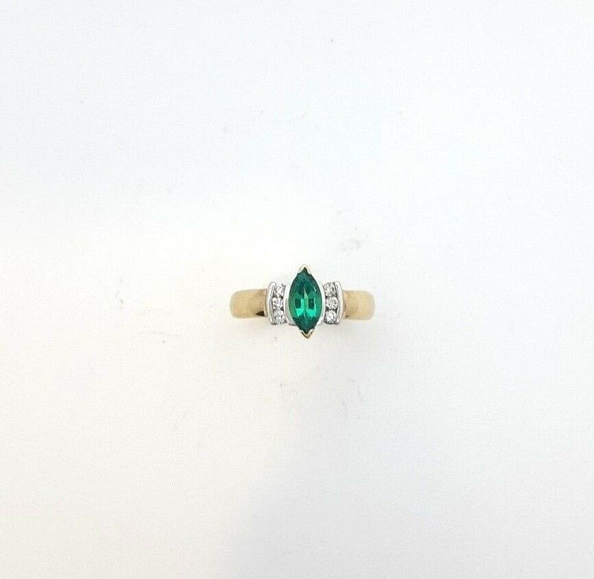 Miran 200079 9K Two Tone Marquise Created Emerald with Diamonds Ring RRP  1200
