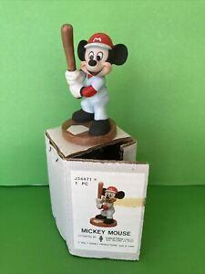 "Disney Productions Bisque Porcelain Baseball Mickey Mouse at Bat Figurine NIB 4"""