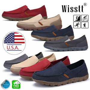 Mens-Minimalism-Driving-Loafers-Canvas-Breathable-Slip-On-Penny-Shoes-Casual-FO