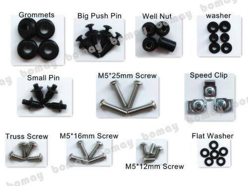 Complete Black Fairing Bolt Kit Body screws for Suzuki GSX-R1000 2007-2008