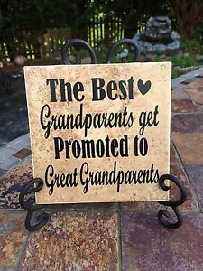 The Best Grandparents Get promoted , Ceramic Tile 6x6 and EASEL,