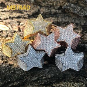 Mens-Hip-Hop-3D-STAR-Gold-Lab-Diamond-Pinky-RING-14k-Gold-ICED