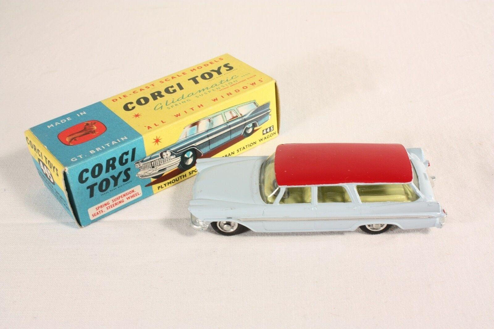 CORGI TOYS 445, Plymouth Sport Suburban station wagon, Mint in Box  ab573