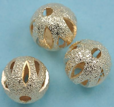 100x Rose Gold Plated Stardust Carved Round Spacer Beads