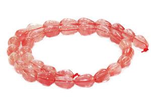 Erdbeerquarz-8-x-12-mm-Tropfen-Schmuckstein-Strang-Perlen-Top-Qualitaet