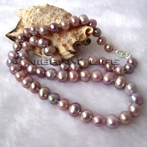 """18"""" 7-9mm Lavender AA Freshwater Pearl Necklace UE"""